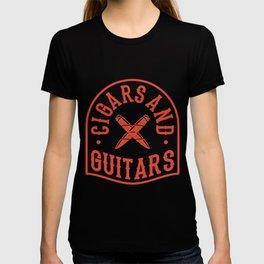 CIGAR AND GUITAR Music Aficionado Gift Cigar Smoker T-shirt