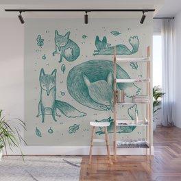 Fox Pattern Wall Mural