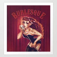 burlesque Art Prints featuring Burlesque by Mathieu Reynes