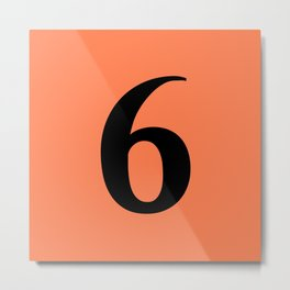 6 (BLACK & CORAL NUMBERS) Metal Print