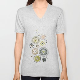 Cute abstract flowers doodling Unisex V-Neck
