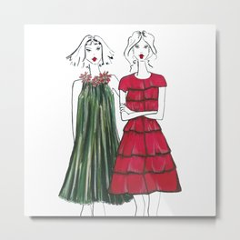 Holiday Party Girls Metal Print