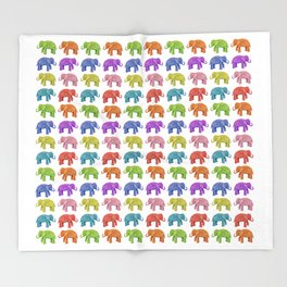 Colorful Parade of Elephants in Red, Orange, Yellow, Green, Blue, Purple and Pink Throw Blanket