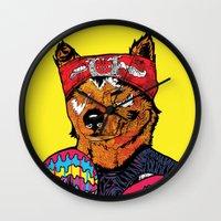 shiba Wall Clocks featuring Shiba - The Hustler  by Vasco Vicente
