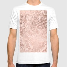 Modern rose gold floral illustration on blush pink White Mens Fitted Tee MEDIUM