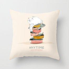 Cat love food Throw Pillow