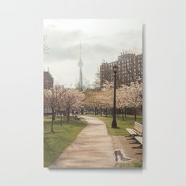 Cherry Blossoms in Toronto ft. The CN Tower Metal Print