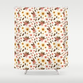 Beautiful Australian Native Flowers on Gold Polka Dots Shower Curtain
