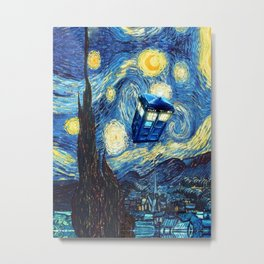 Tardis Doctor Who Starry Night Metal Print