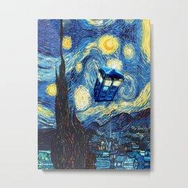 Tardis Doctor Who Starry Night Metal Print