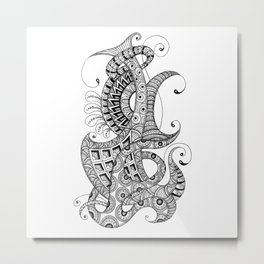 Zentangle art 1, abstract graphic-design, Black and white, ink handdrawing Metal Print