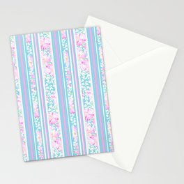 Lipstick Pink Roses and Butterflies - Stripes Stationery Cards