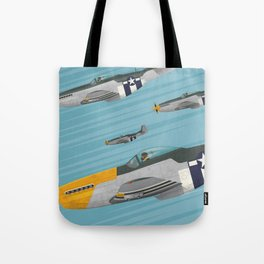 P51 Mustang Flying in Formation Tote Bag