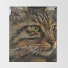 Aslan The Long Haired Tabby Cat Throw Blanket