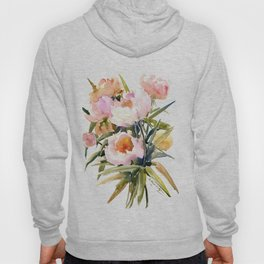 Soft Pink Peonies Asian watercolor Peonies, soft pink, olive green Hoody