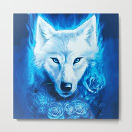 The Heart of the Flame: Spirit Wolf (Painting) Metal Print
