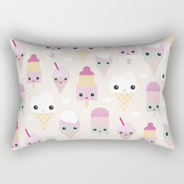 Cute kawaii summer Japanese ice cream cones and popsicle p Rectangular Pillow