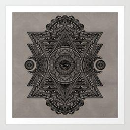 All Seeing eye in Sacred Geometry Drawing Art Print