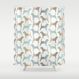 Beagle Silhouettes Pattern - Natural Colors Shower Curtain