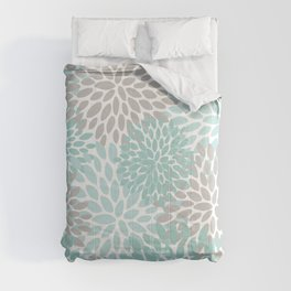 Floral Pattern, Teal, Aqua, Turquoise,Gray Comforters