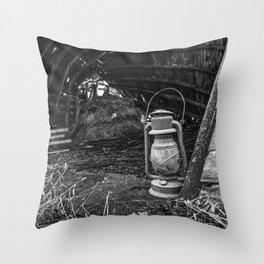 Vintage Lantern in Abandoned Barn 1 Throw Pillow