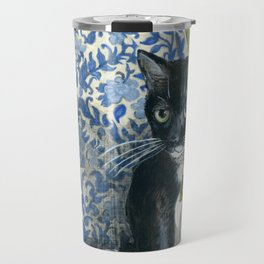 Sweet Tuxedo Cat on Blue Floral Chair Travel Mug