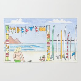 Beach in my Backyard - watercolour print Rug