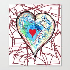 scribble heart Canvas Print