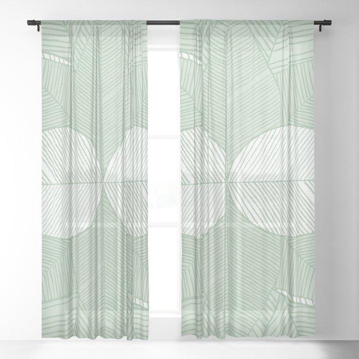 Minimal Tropical Leaves Pastel Green Sheer Curtain