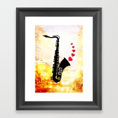 Sax and Love Framed Art Print