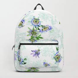 Passionflower mist on white Backpack