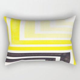 Yellow Mid Century Modern Watercolor Colorful Ancient Aztec Art Pattern Minimalist Geometric Pattern Rectangular Pillow