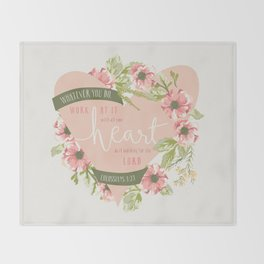 """""""All Your Heart"""" Floral Bible Verse Print Throw Blanket"""
