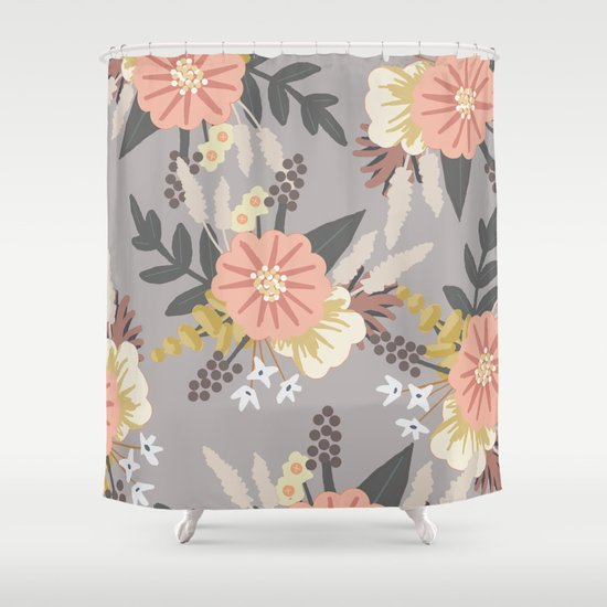 Pink And Gray Floral Pattern Shower Curtain By The Ophelia Society6