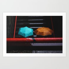 Umbrellas Under the Rain Art Print