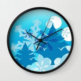 Winter Tree Holiday Wall Clock