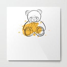 Teddy Bear - One Line Drawing Metal Print