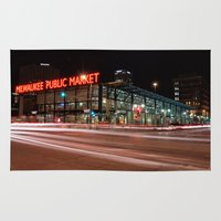 milwaukee Area & Throw Rugs featuring Milwaukee Public Market by Jonah Anderson