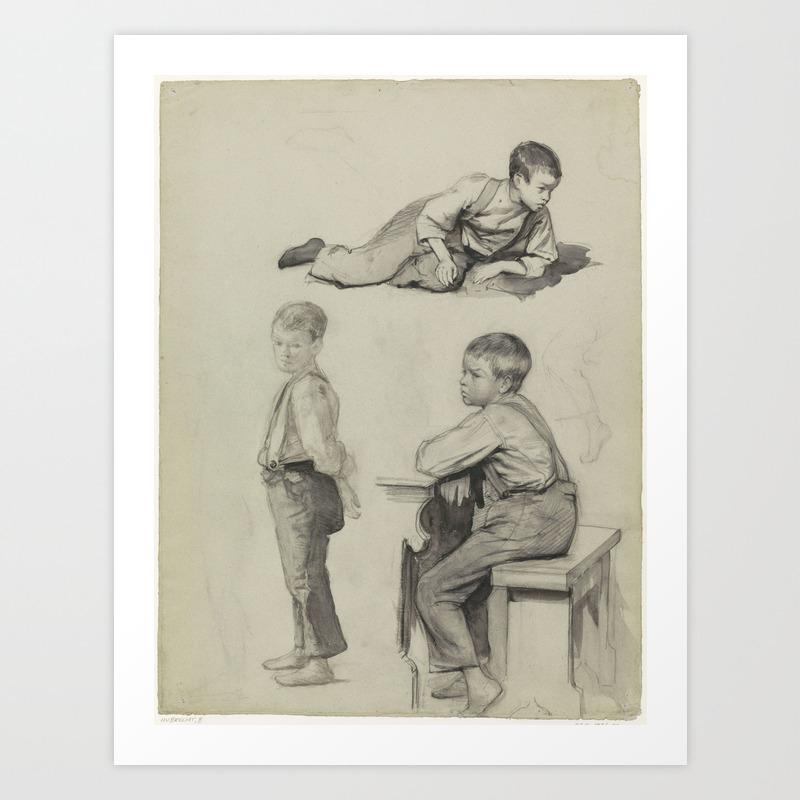 Op Een Bankje.Drie Studies Van Een Jongetje Staand Liggend En Zittend Op Een
