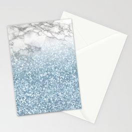She Sparkles - Turquoise Teal Glitter Marble Stationery Cards