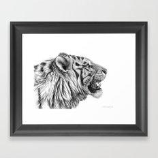 White Tiger Profile Framed Art Print