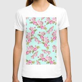 Pink & Mint Green Floral T-shirt