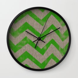 lime chevron on linen Wall Clock