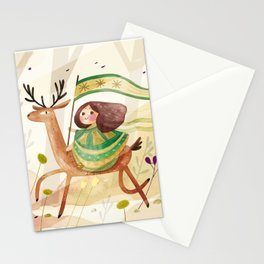 little girl and her deer on their journey Stationery Cards