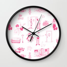 Friends Toile - Pink Wall Clock