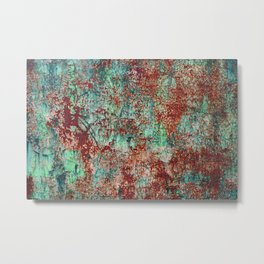 Abstract Rust on Turquoise Painting Metal Print