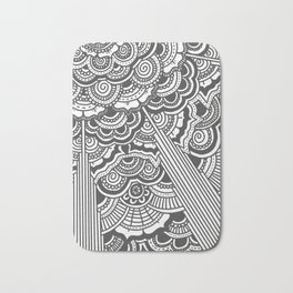 Grey floral mandala design - hydrangeas Bath Mat