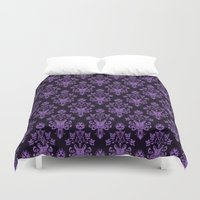 haunted mansion Duvet Covers featuring Haunted Wallpaper by Ellador