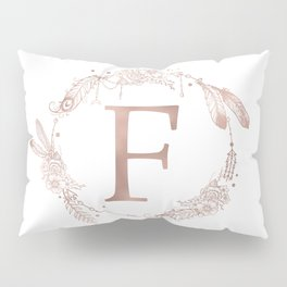 Letter F Rose Gold Pink Initial Monogram Pillow Sham