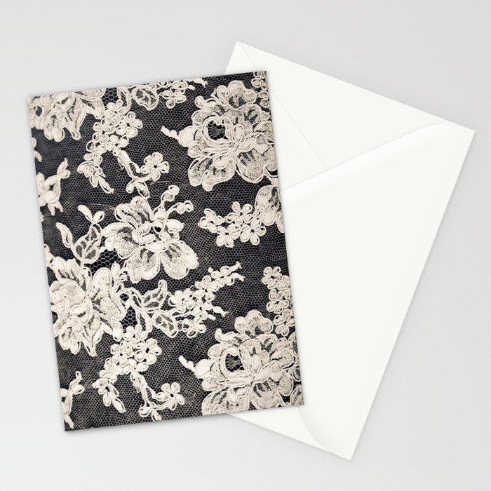 black and white lace- Photograph of vintage lace Stationery Cards